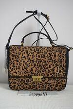 Fossil $349 Memoir Flap Black Cheetah Calf Hair Fur Leather Bag Handbag BNWT