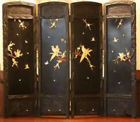 ANTIQUE JAPANESE FOLDING SCREEN - FOUR PANELS, HANDCARVED
