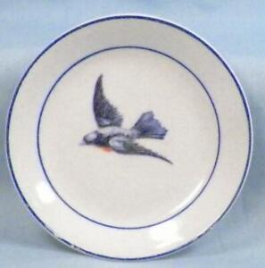 Antique Bluebird Butter Pat Earthenware Crazing Small Areas of Paint Wear #4