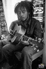 Bob Marley Playing Guitar Music Poster Print 24x36