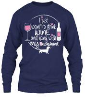 Wine &amp Dachshund Gildan Long Sleeve Tee T-Shirt
