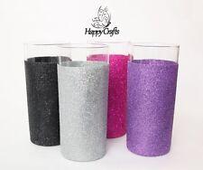 Glitter Tall Tumbler Glasses Set of 4 Pink Purple Silver Black