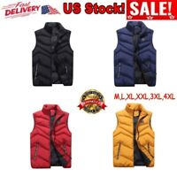 Mens Winter Warm Zipper Quilted Vest Tops Sleeveless Padded Jacket Coat US