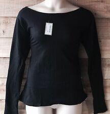 Women's Plus Size 18 Boat Neck Top Sweater Tee Design Long Sleeve Urban BLACK
