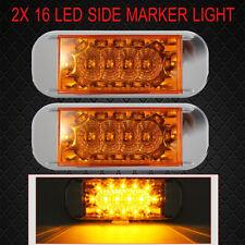 2 x  Chrome 16 LED Clear / Amber Marker Indicator Light 12V 24V Trailer RV Boat