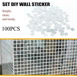 100pcs/Pack Self Adhesive Mosaic Tile Sticker Home Kitchen Decor Art Wall Decors