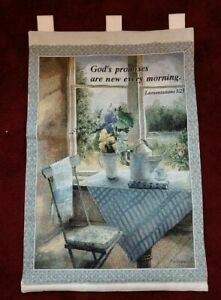 "Religious Tapestry Wall Banner Gods Promises New Every Morning 26""x36"" Scripture"