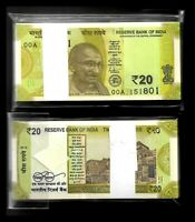 """India Banknote Issue Latest Issue Rs 20 Serial Packet GEM UNC 00A 2019 """"R"""" Issue"""