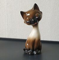 Vintage Large Stylised Cute Siamese Cat Ceramic Figure 23cm VGC #415