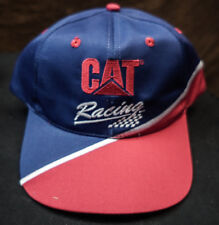 CATERPILLAR CAT RACING BLUE + RED SNAPBACK HAT CAP NOS