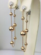 18K 2-Tone Rose Gold Natural Diamond Drop Dangle Ball Earrings Unique Gift