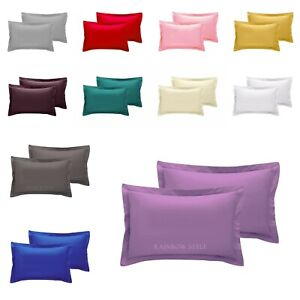 Pillow Cases Oxford Covers Easy Care 100% Poly-Cotton Plain Dyed Pillowcase Pair