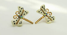 Gold Plated Spotty Butterfly Dragonfly Summer Earrings White Crystals Rhinestone