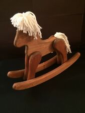 "Vintage Rustic Handmade Solid Wood Small Rocking Horse Toy Decor Doll 12.5"" Tall"