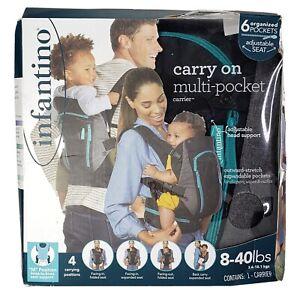 Infantino Carry on Multi Pocket Carrier Grey 8-40 Pounds