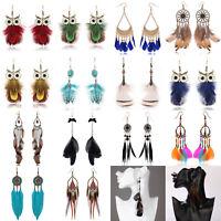 Bohemia Handmade Charm Feather Boho Drop Dangle Hook Earrings Fashion Jewelry