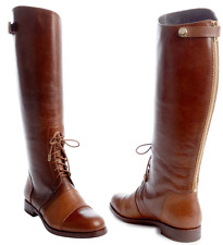 $545 RACHEL ZOE Brown Leather 'Georgia Lace Up Detail Tall Flat Riding Boots 6.5