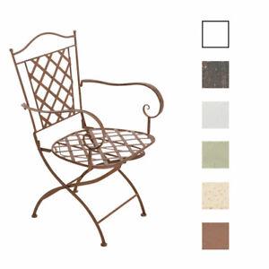 Chaise de jardin en fer forgé ADARA confortable avec accoudoirs design antique