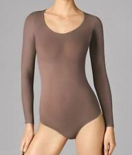 Wolford Buenos Aires String Body, Long Sleeves, Round Neck, clove, M = 12/14