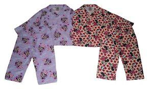 Girls Pyjamas Flannel Disney Minnie Mouse 1-4 Years Purple Or Cream