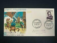 FRANCE PREMIER JOUR FDC YVERT 1134 DON QUICHOTTE CERVANTES 12F PARIS 1957