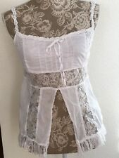 White Camisole Top Sexy Open Belly L Boho  Festival Blue Plate Babydoll
