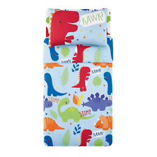 Boys Colourful Dinosaur Blue Duvet Set - Cot Bed / Toddler Bedding - NEW