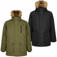 Tokyo Laundry Mens Parka Coat Multi-Pocket Winter Jacket Faux Fur Trim Hood Warm