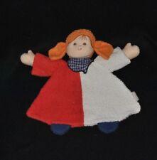 Peluche doudou poupée fille plat STERNTALER rouge blanc bandana bleu grelot TTBE