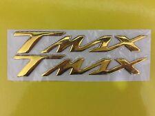 2 ADESIVI/STICKERS 3D SCRITTA TMAX per SCOOTER YAMAHA T MAX 500/530 ORO/GOLD
