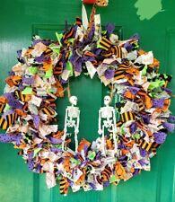 14 Inch Halloween wreath  ~ Tie wreath ~ skeletons ~ Halloween decor ~ lighted