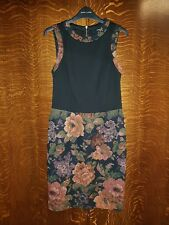Tapestry fabric Wiggle Dress floral retro vintage look George size 8