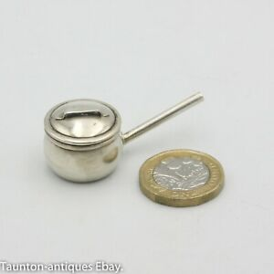 Rare miniature dolls house saucepan by Levi Salaman solid silver 1908 Birmingham