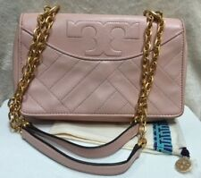 EUC TORY BURCH $495 ALEXA PINK QUILTED LEATHER GOLD CHAIN CROSSBODY SHOULDER BAG