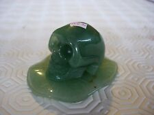 Crystal skull green aventurine on carved stand 2