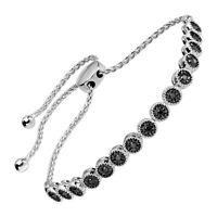 "1/3 ct Black Diamond Bolo Bracelet in Sterling Silver, 9.5"""