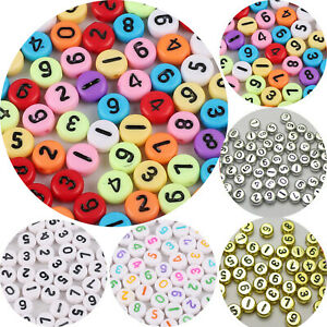 """250 Assorted Number """"0-9"""" Acrylic Coin Beads 4X7mm Various Color Kids Crafts"""