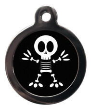 Pet Id tag - Skeleton Halloween picture dog & cat Tag 32mm or 24mm personalised