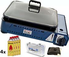 Deluxe tragbarer Gasgrill mit Grillpfanne mit Glasdeckel 2,1KW +4x Gaskartuschen