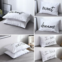 2Pcs Pillow Case Cushion Cover Bed Set Letter Printed Pillowcase Decor 50*75cm