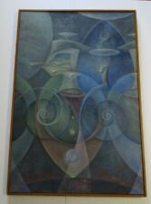 SURREALIST PAINTING SPACE SWIRL ABSTRACT CUBISM MODERNISM VINTAGE LARGE LISTED