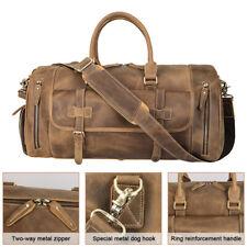 Retro Large Men's Real Leather Travel Luggage Bag Shoulder Bag Overnight Handbag