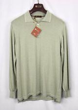 $1295 NWT - LORO PIANA 100% CASHMERE Polo Sweater -Light Green - 58 XXL