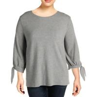 Vince Camuto Womens Gray Solid Tie-Cuff Crew Neck Sweater Top 3X BHFO 6395