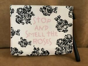 Betsey Johnson Stop And Smell Roses Clutch purse wristlet Bag Large Cosmetic bag