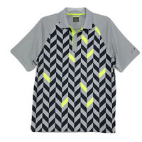Greg Norman Polo Golf Shirt Slim Fit Mens Size L Large Gray Short Sleeve Chevron