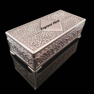 GORGEOUS Embossed Style Silver Plated Antique/Vintage Ladies Jewellery Box Gift