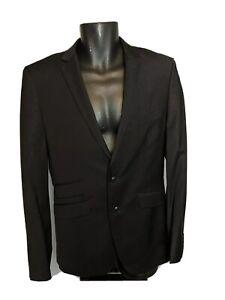 Zara Man black wool blend blazer thin lapel 2 button closure pockets Size 38