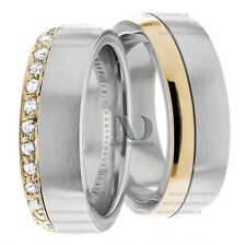 14K White & Yellow Gold His/Hers Diamond Matching Wedding Band Set 0.50 Ctw. 6mm