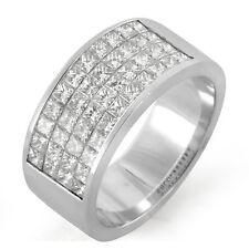 2.15 CT Princess Diamond Wedding Anniversary Unisex Band Ring 14K Gold White VS1